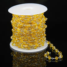 rosary supplies yellow glass quartz faceted rondelle chains plated silver