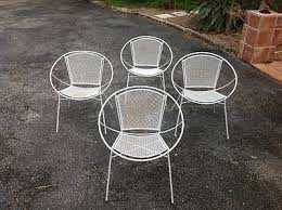 four mid century modern salterini wire mesh wrought iron clam patio
