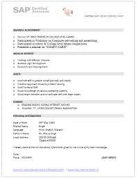 Sap Abap Resume Format Sap Consultant Resume