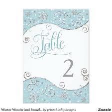 winter wonderland table numbers winter wonderland snowflakes table number card table numbers and