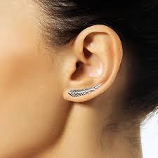 ear climber earrings feather ear climber
