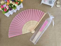 fan favors 2018 wholesale white folding silk fan with organza