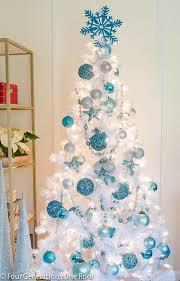 white tree blue lights decor