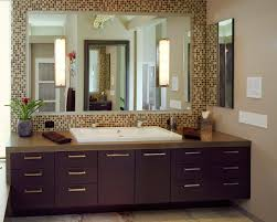 bathroom surprising mirrored tile backsplash with wall sconces