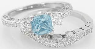aquamarine wedding princess cut aquamarine engagement ring and matching wedding band