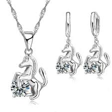 pendant necklace earrings images Zircon stone horse design pendant necklace with matching earrings jpg