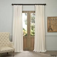 exclusive fabrics vintage cotton velvet 108 inch length curtain panel ivory 108l