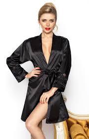 robe de chambre en satin déshabillé court en satin noir betty dk bet n idresstocode