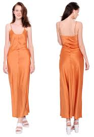 cool orange womens long maxi satin clubwear cocktail party evening