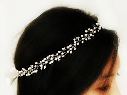 pearl hair accessories boho bridal freshwater pearl hair vine halo headpiece crown