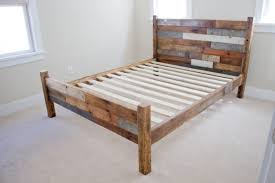 amazing queen bed frame with headboard made of wood and metal