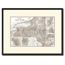 Gifts Home Decor New York Vintage Sepia Map Canvas Print Picture Frame Gifts Home