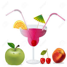 cocktail illustration illustration cocktail with cherry by peach and apple royalty free
