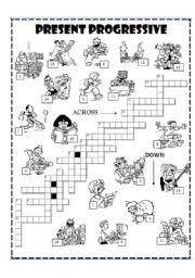 worksheet present progressive crossword