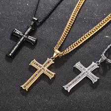 cross pendant necklace silver images Bible verse with curb chain gold silver stainless steel cross jpg