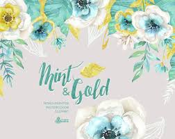 floral bouquets mint gold watercolor floral bouquets and arrangement