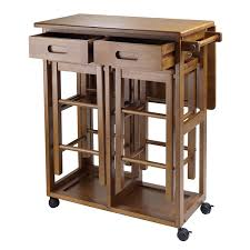Kitchen Island Cart With Drop Leaf by Amazon Com Winsome Space Saver With 2 Stools Square Kitchen