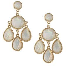 gold chandelier earrings gold tone white opalescent chandelier earrings heirloom