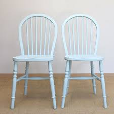 pair of shabby chic vintage stick back kitchen chairs 2 duck egg