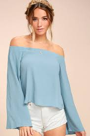 light blue off the shoulder top lovely light blue top off the shoulder top long sleeve top 42 00