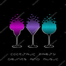 cocktail party template with glasses and equalizer u2014 stock vector