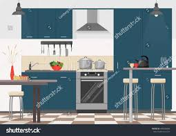 modern kitchen interior furniture cooking devices stock vector