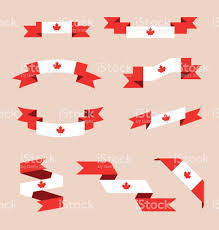 ribbons or banners in colors of canadian flag stock vector art