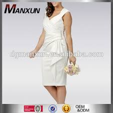 white mid length wedding dress satin wrap knee length casual