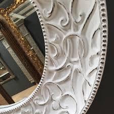 extra large round white shabby chic mirror 121cm round white