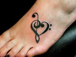 cute black music note tattoos on foot in 2017 real photo