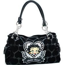 discount betty boop shoulder bag with velvet heart montage