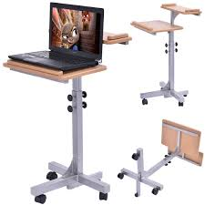 Portable Laptop Desk On Wheels by Adjustable Wooden Laptop Table With Work Top And Wheels Desks