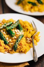 saffron rice with asparagus vegan the veggie