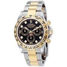diamond rolex rolex cosmograph daytona black diamond dial steel and 18k yellow