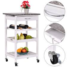 kitchen trolley island costway rakuten costway 4 tier rolling wood kitchen trolley