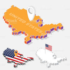 United States On Map by France Flags On Map Element With 3d Isometric Shape Isolated On