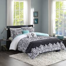 girls black and white bedding total fab black white and turquoise bedding