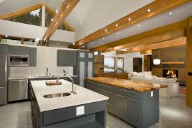 lighting on exposed beams faux ceiling beams kitchen contemporary with breckenridge ceiling