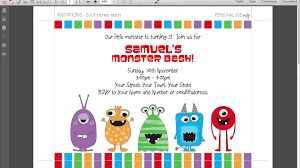 graphic design birthday invitations the monster birthday invitations printable invitations templates