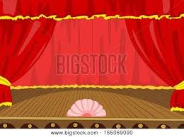 Stage With Curtains Hand Drawn Cartoon Theater Stage Image U0026 Photo Bigstock
