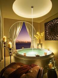 relaxing bathroom decorating ideas circle bathtubdesign also brown seating seat also relaxing