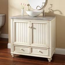 bathroom white bowl vessel sink vanity with white painted wood
