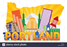 Portland Bridges Map by Portland Oregon City Skyline With Mount Hood Hawthorne Bridge In
