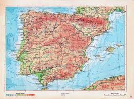 Maps Spain by Detailed Physical Map Of Spain In Russian Spain Detailed Physical
