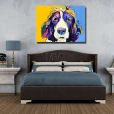 canvas oil painting with framed art home decor lovely dog painting