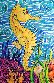 seahorse watercolor painting warm and cool colors create art with me