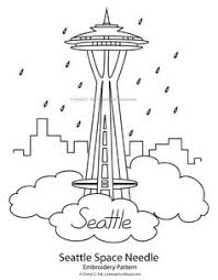seattle skyline the space needle and mt rainer a 14 410 foot