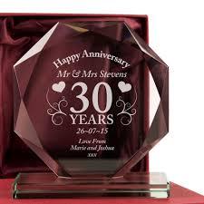 30 wedding anniversary gift personalised 30th pearl wedding anniversary keepsake parents glass