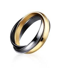 russian wedding band ring styles stainless steel fashion 3 tone interlocked
