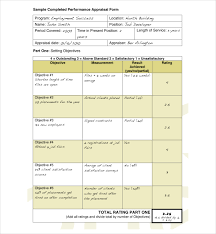 sample employee appraisal form employee performance review